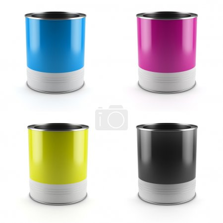 Photo for Tin cans with cmyk color paints isolated on white background - Royalty Free Image