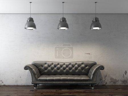 Foto de Sofá negro delante de la pared del grunge. render 3D - Imagen libre de derechos