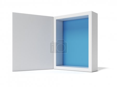 Photo for Opened white Box with blue inside isolated on white background - Royalty Free Image