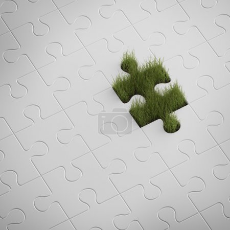 Green grass from puzzle