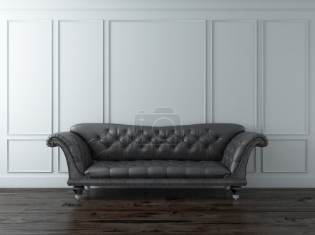 Photo for White Classic interior with black sofa. 3d render - Royalty Free Image