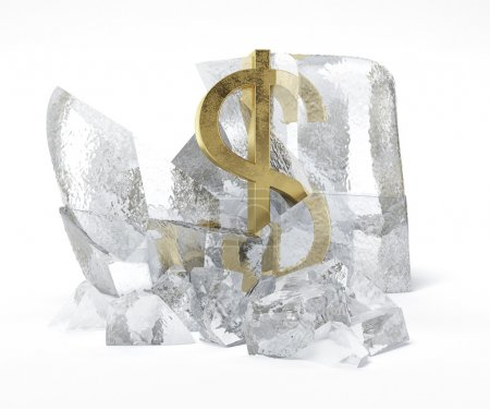 Golden Dollar symbol frozen inside an ice cube
