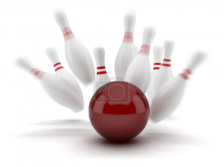 Red bowling ball scoring a strike