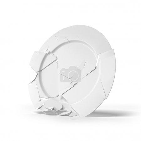 Broken white plate