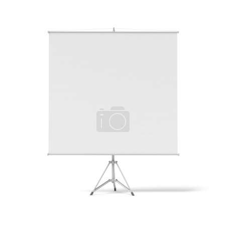 Blank roll-up poster on a tripod
