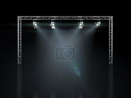 Photo pour Lumières de scène isolées sur fond noir. 3d rendu - image libre de droit