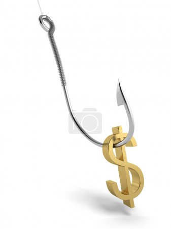 Fishing hook with golden symbol of dollar