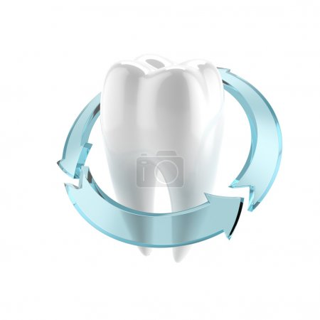 Photo pour Traitement de la dent isolée sur fond blanc - image libre de droit