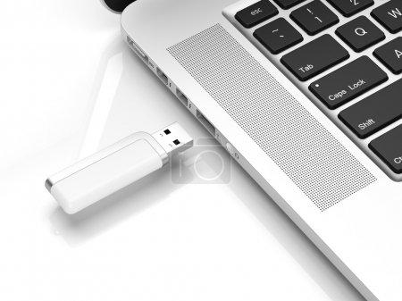 Foto de Flash USB aislado sobre un fondo blanco - Imagen libre de derechos