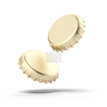 Two golden bottle caps