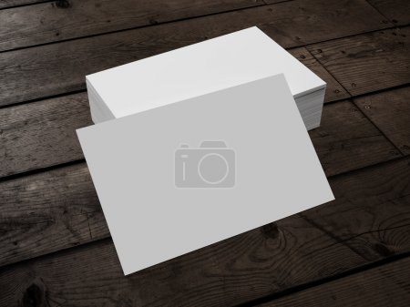 Photo for 3d render of Business Card on Wood - Royalty Free Image