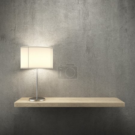 Photo for Bookshelf on the wall with lamp. 3d render - Royalty Free Image