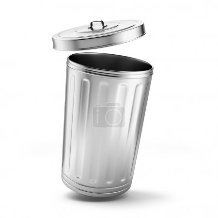 Photo for Metal trash can isolated on a white background - Royalty Free Image