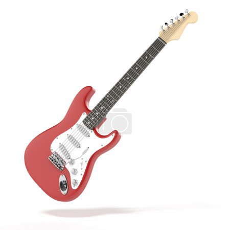 Red guitar isolated on a white background...