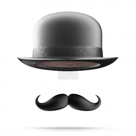 Photo pour Silhouette vintage de chapeau melon et moustaches isolées sur fond blanc - image libre de droit