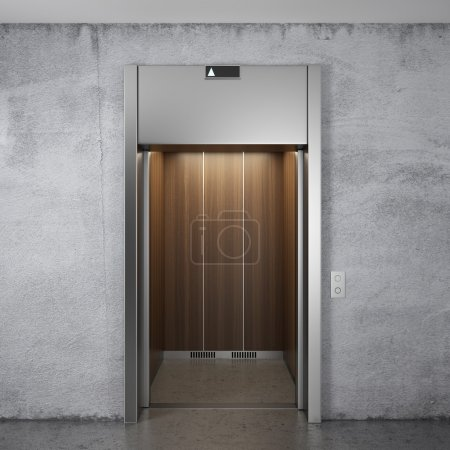 Front view of elevator with opened doors...