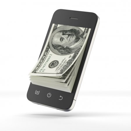 Dollars inside smart phone