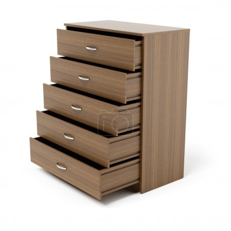 Opened drawers from wooden cabinet