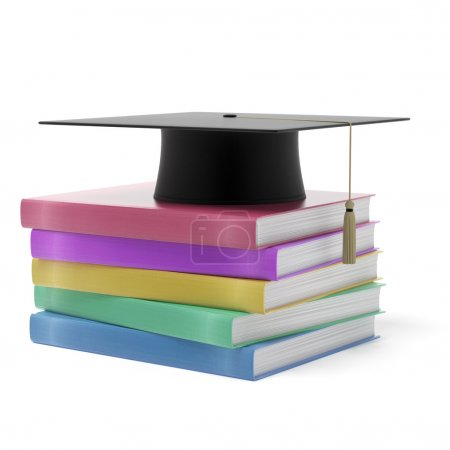 Grad hat with books