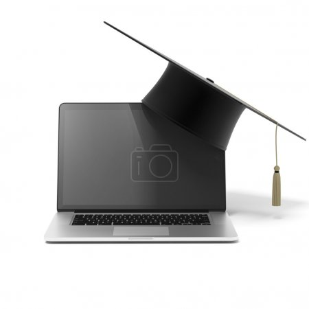 Photo for Grad hat and laptop isolated on a white background - Royalty Free Image