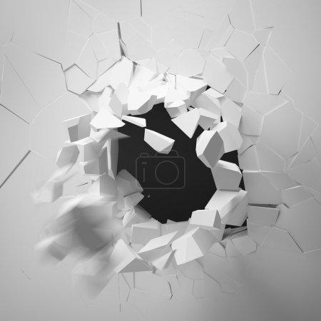 Photo for Broken Wall isolated on a white background - Royalty Free Image