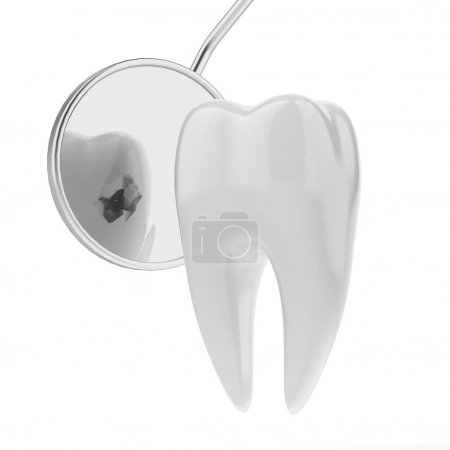 Tooth and dentist mouth mirror