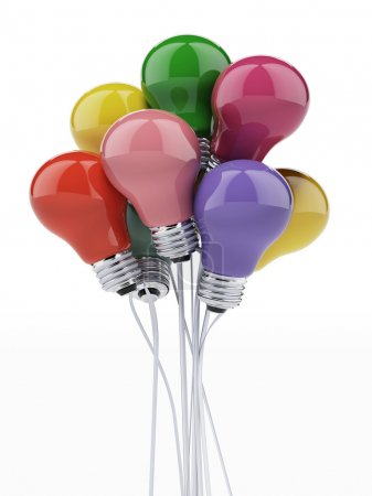 Photo for Bulbs as colored balloons isolated on a white background - Royalty Free Image