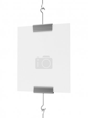 Photo for Blank post hanging isolated on a white background - Royalty Free Image