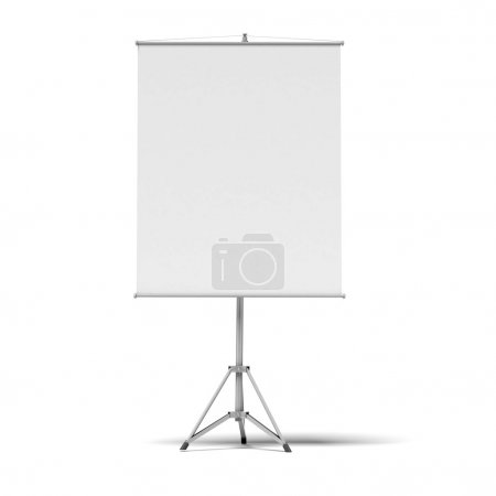 Photo for Blank presentation roller screen isolated on a white background - Royalty Free Image