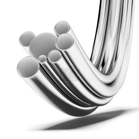 Photo pour Empilement de tuyaux en acier isolés sur un fond blanc - image libre de droit