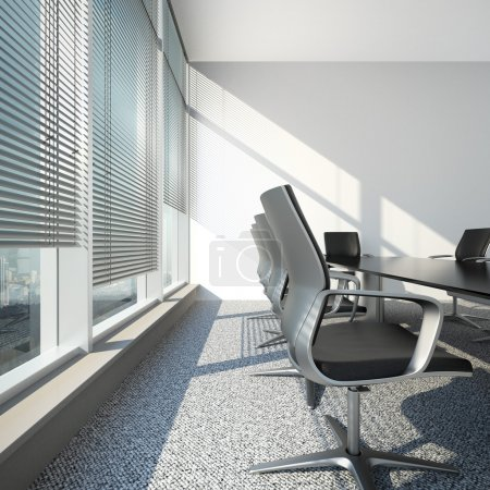 Interior with blinds and office table