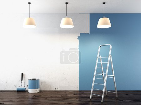 Photo for Painting on wall 3d render - Royalty Free Image