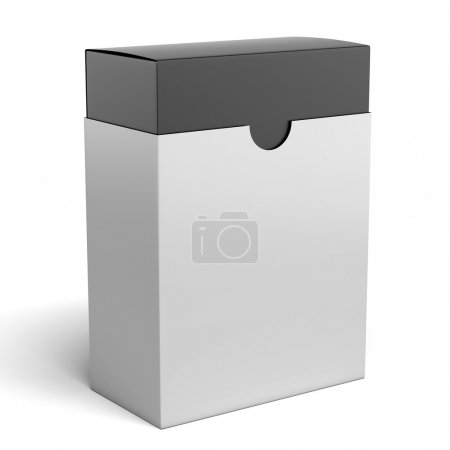 Photo for White box with black inside isolated on a white background - Royalty Free Image
