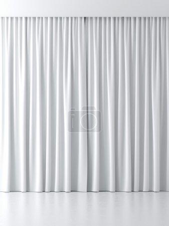 Foto de Cortinas blancas aisladas sobre un fondo blanco - Imagen libre de derechos