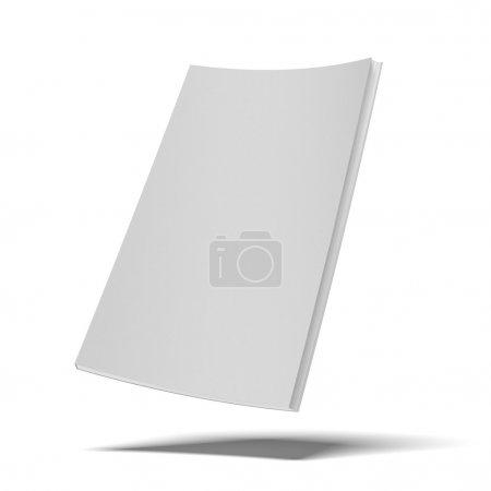 Photo pour Livre blanc avec blanche couverture souple isolée sur fond blanc - image libre de droit