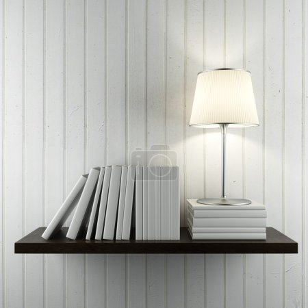 Photo for Shelf with books and lamp on the white wall - Royalty Free Image