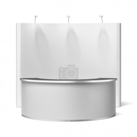 Photo for Screen with Trade exhibition stand isolated on a white background - Royalty Free Image