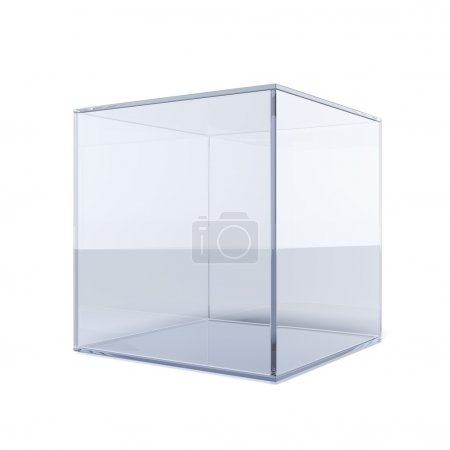 Photo for Empty glass cube isolated on a white background - Royalty Free Image