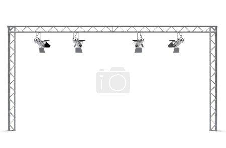 Photo pour Construction avec projecteurs isolés sur fond blanc - image libre de droit