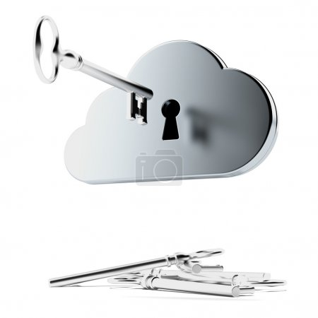 Photo for Cloud security isolated on a white background. 3d render - Royalty Free Image