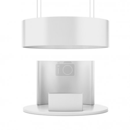 Photo for White circle exhibition standtion stand isolated on a white background. 3d render - Royalty Free Image