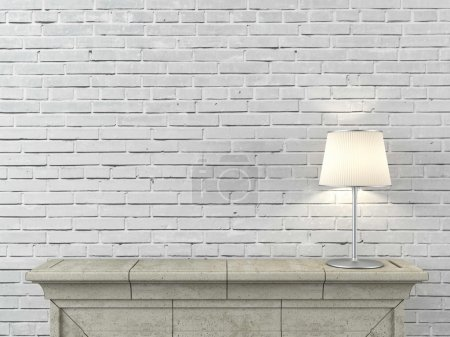Photo for Fireplace with lamp - Royalty Free Image