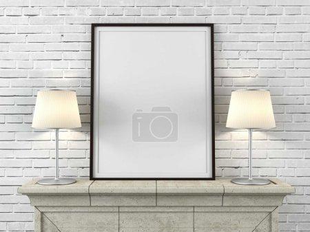 Photo pour Cadre photo en bois avec des lampes à l'intérieur - image libre de droit