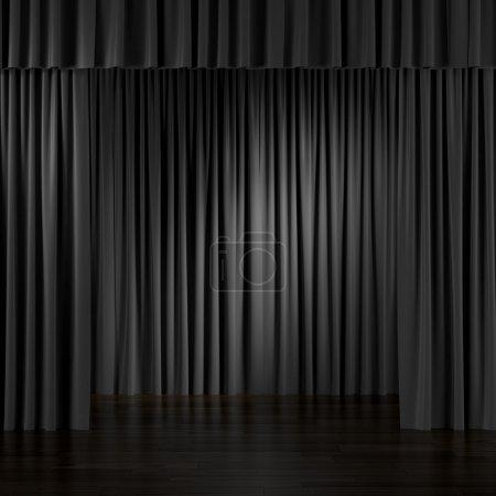 Photo pour Rideaux noirs à l'intérieur. 3d rendu - image libre de droit