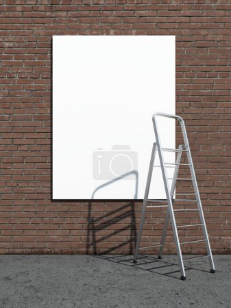 Photo for Street advertising billboard with stepladder. 3d render - Royalty Free Image