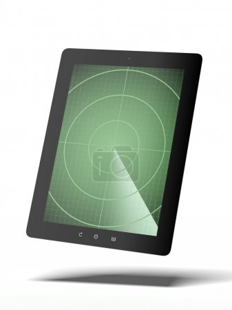 Photo for Tablet with radar isolated on a white background. 3d render - Royalty Free Image
