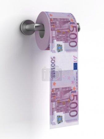 Photo pour Rouleau de billets d'euros sur un papier toilette isolé sur fond blanc. 3d rendu - image libre de droit