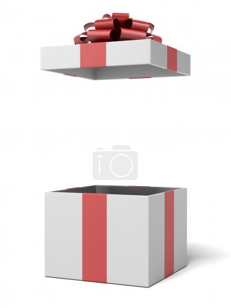 Photo for Open gift box isolated on a white background. 3d render - Royalty Free Image