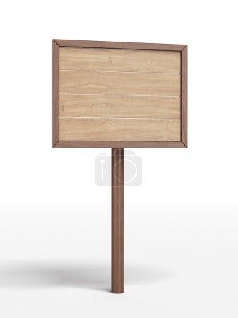 Photo pour Panneau en bois isolé sur fond blanc. 3d rendu - image libre de droit