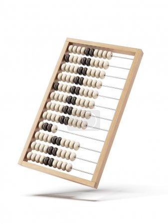 Photo pour Abaque en bois isolé sur fond blanc. 3d rendu - image libre de droit